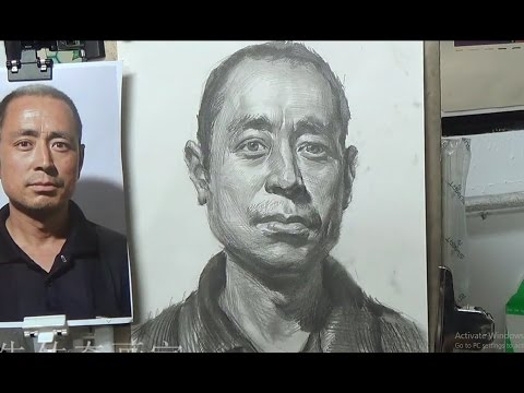 Portrait Drawing Middle-aged man through photos | Time-Lapse