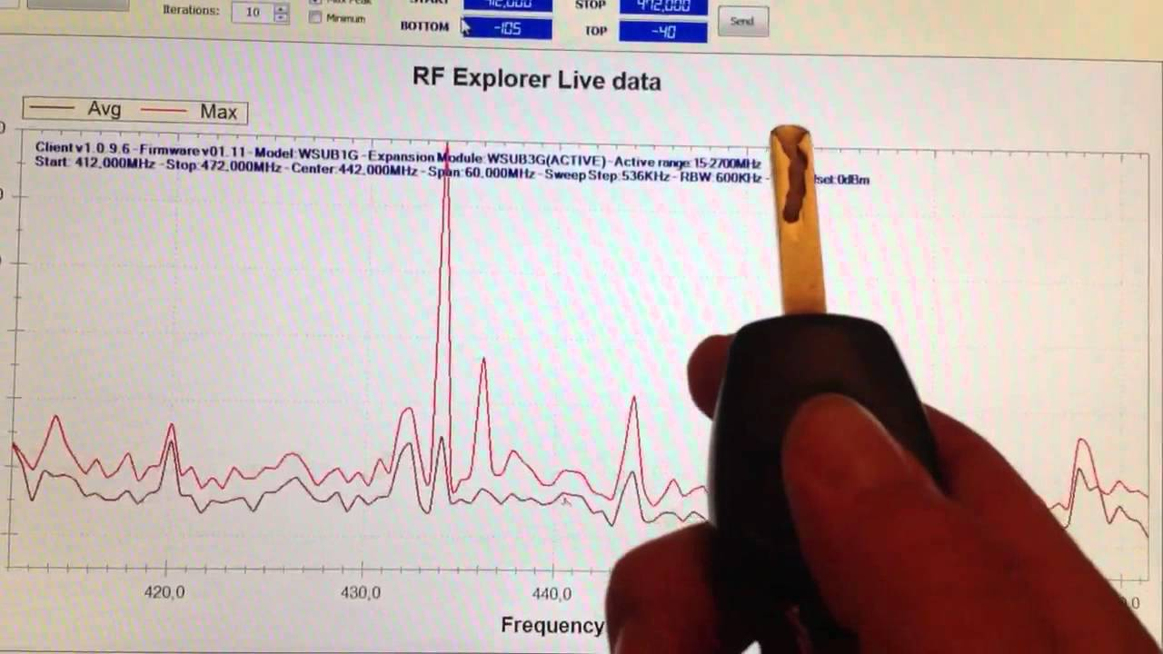RF Explorer finding car key frequency