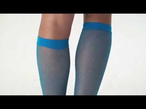 UK Tights - Trasparenze Ambra Coloured Fishnet Knee Highs