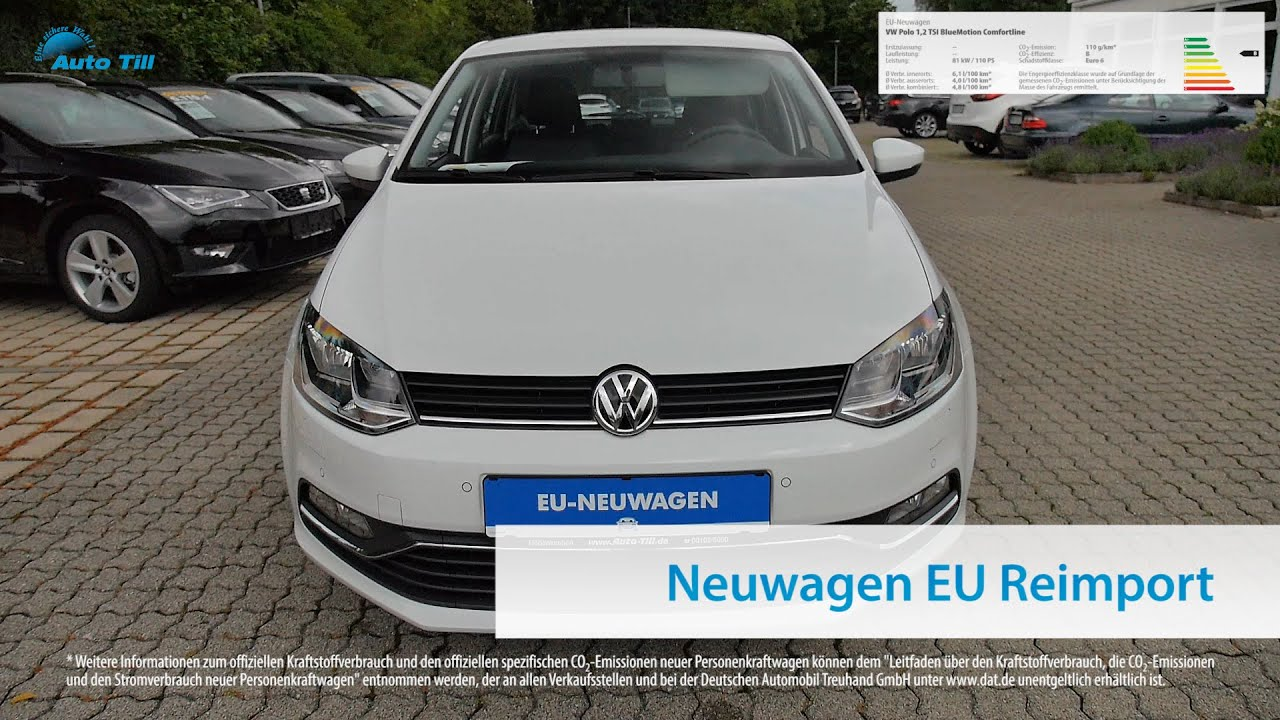vw polo 1 2 tsi bluemotion comfortline eu neuwagen m nchen bei auto till youtube. Black Bedroom Furniture Sets. Home Design Ideas