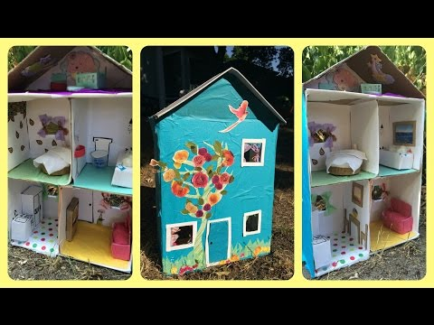 How To Make A Dollhouse From a Shoebox - Using Recycled Materials