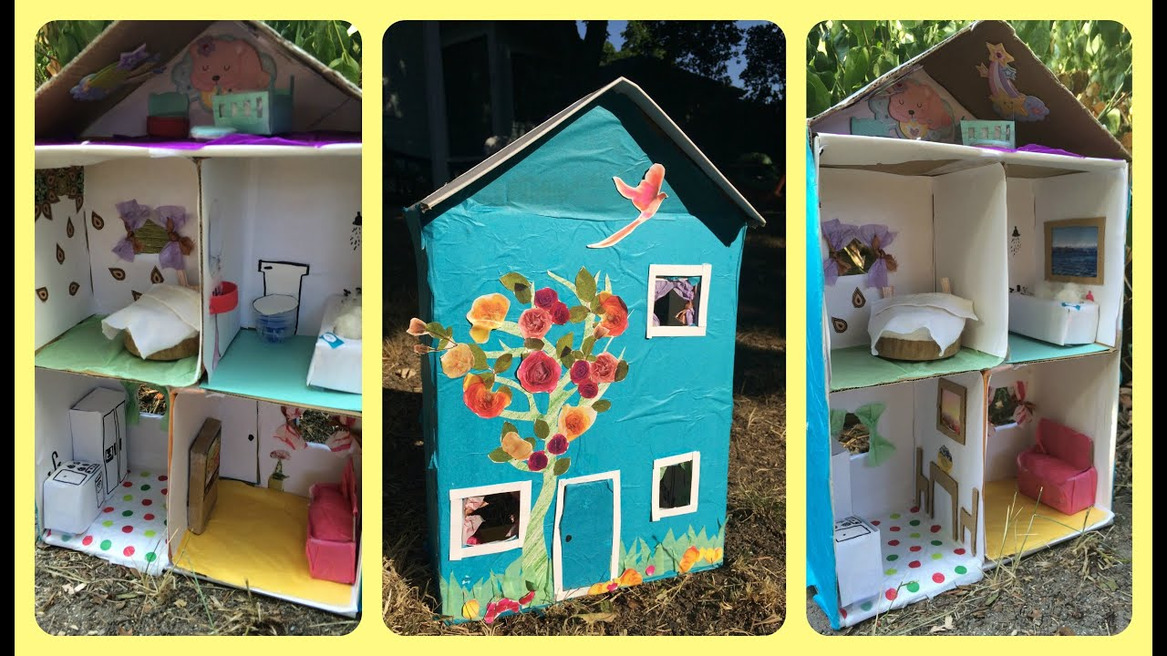 How to make a dollhouse from a shoebox using recycled for Making hut with waste material