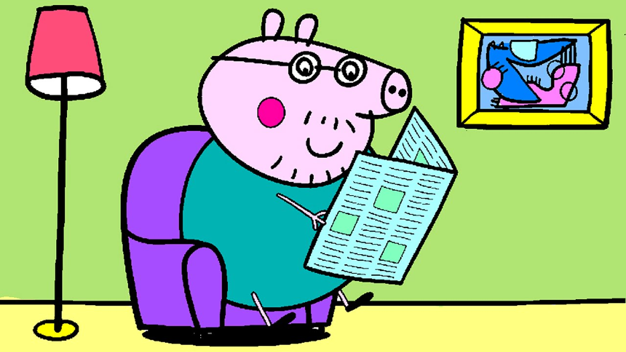Peppa Pig Coloring Pages for Kids - Daddy Pig Reading a Newspaper ...