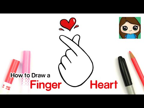 How To Draw A Tumblr Korean Finger Heart Symbol #4