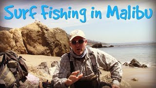 Surf fishing in Malibu with my fly rod.
