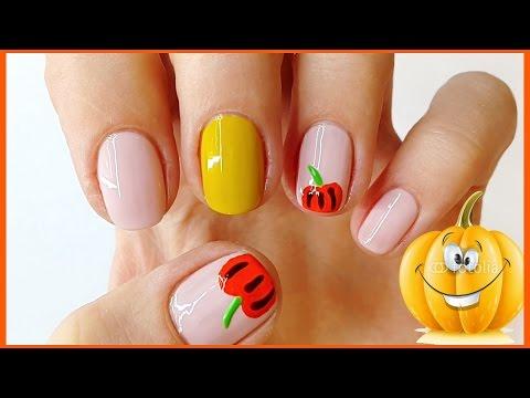 Красивый маникюр на Хэллоуин с тыкой на коротких ногтях
