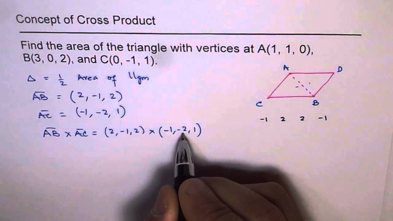 Area of triangle vector cross product youtube area of triangle vector cross product ccuart Choice Image