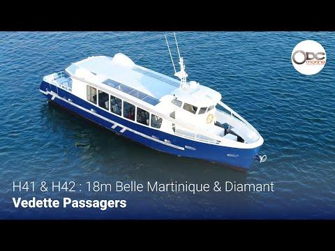 Vidéo aérienne  / Essais en mer des vedettes à passagers 18 m 100 places Belle Martinique et Diamant