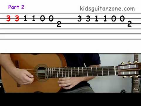 Guitar lesson 3A : Beginner -- 'Twinkle twinkle little star' on two strings