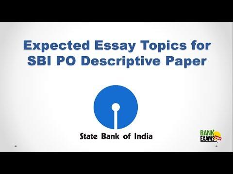 Expected SBI PO Descriptive Paper Essay Topics