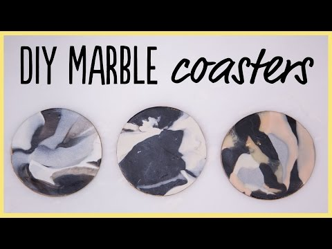 DIY   How to Make Marble Coasters from Clay (SO Easy!)
