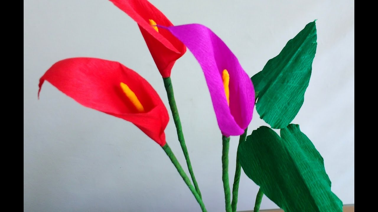 How To Make Easy Paper Flowers Calla Lily Arum Lily Flower 136