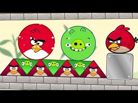 Angry Birds Piggies Out vs Kick Out Green Pigs - TRANSFORM TRIANGLE BIRDS TO ROUND TO KICK PIGGIES!