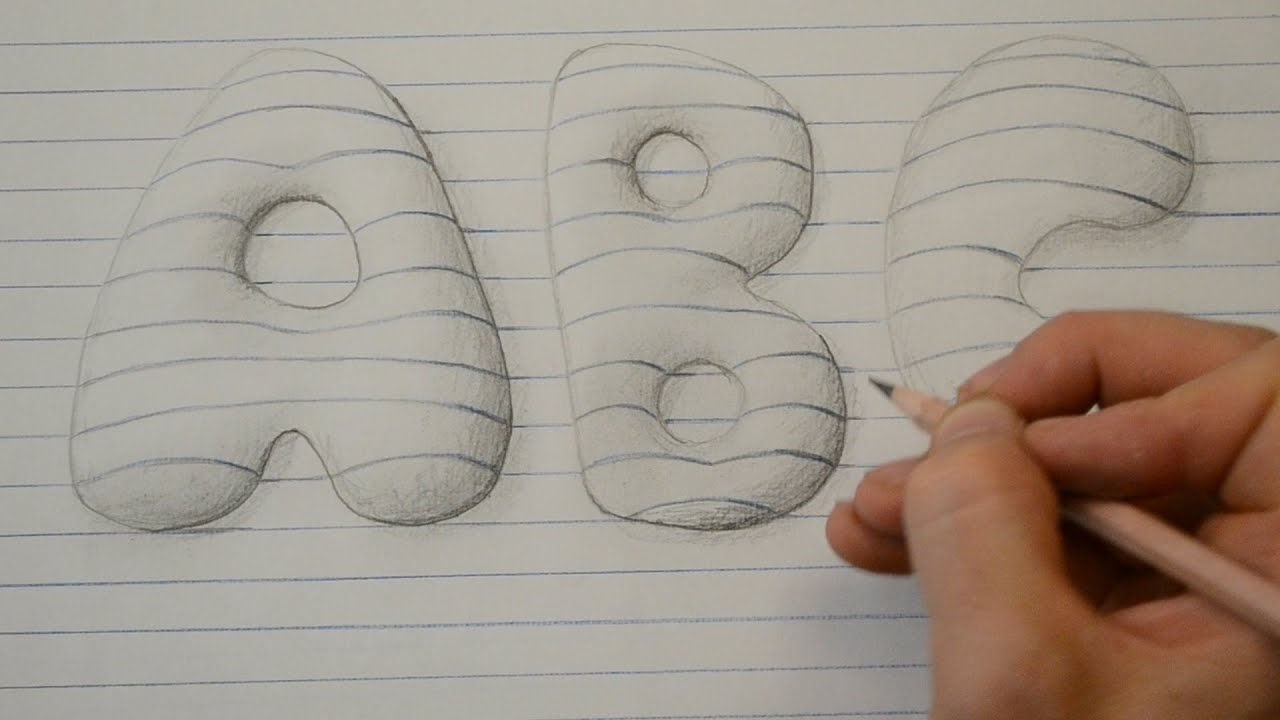 draw 3d style bubble letters notepad art youtube