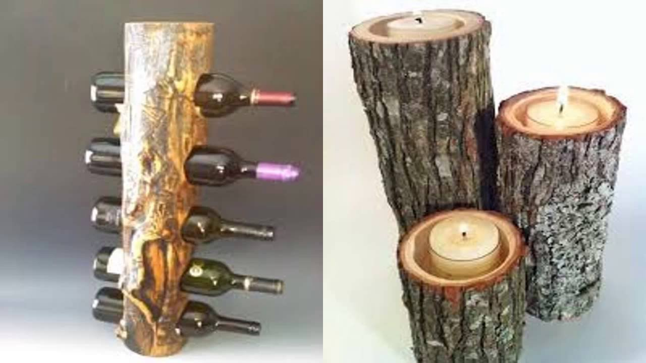 30 ideas para decorar troncos de madera natural youtube for Ideas para decorar paredes de jardin