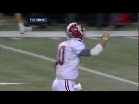 Alabama quarterback AJ McCarron throws the Game Winning Touchdown Pass against Georgia