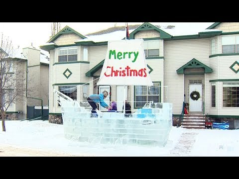 Alberta father builds giant ice ship for kids on front lawn