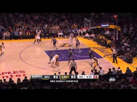 Lakers vs Thunder Highlights January 27 2013 - Kobe Bryant near triple double