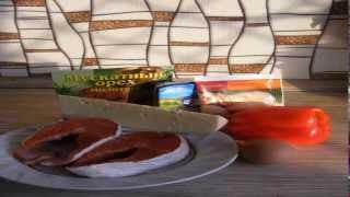 Красная рыба с мускатным орехом и кунжутом