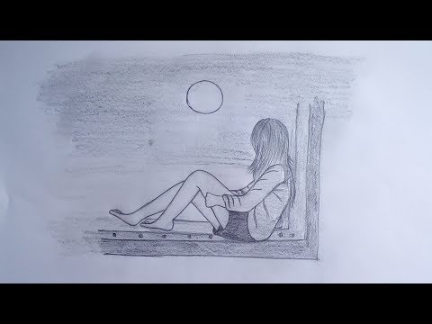How To Draw A Girl Sitting Alone In Moonlit Night Easy Drawing Tutorial Youtube