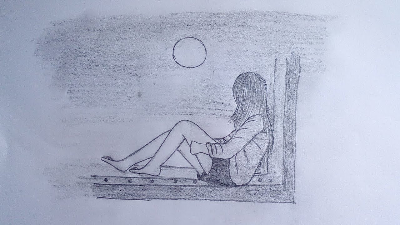 How to draw a girl sitting alone in moonlit night easy drawing tutorial