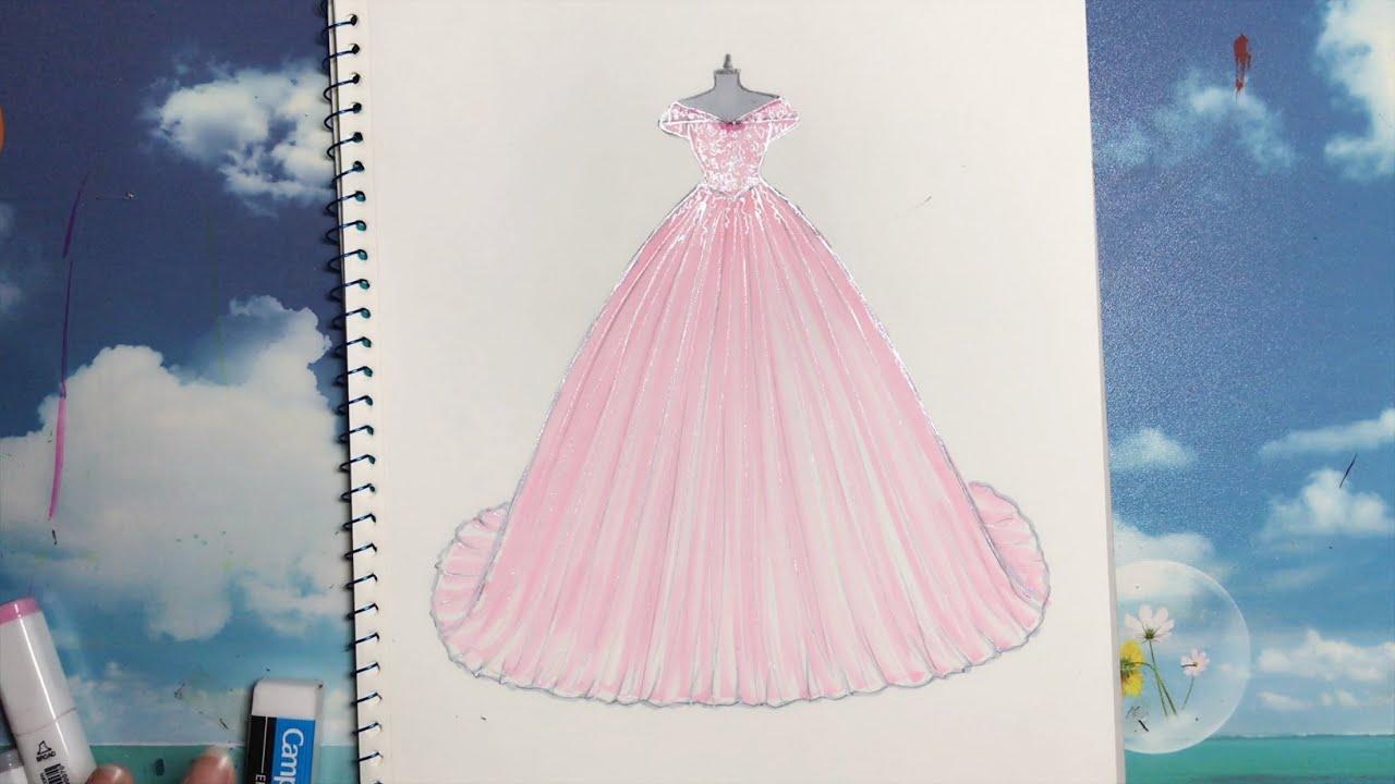 How to draw a wedding dress 23 - Vẽ Váy Cưới - An Pi TV Coloring #1