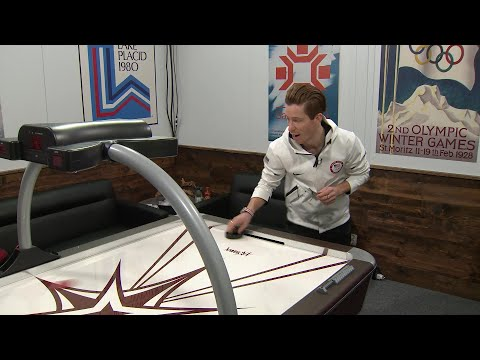 Julia Mancuso and Shaun White talk Olympics over air hockey