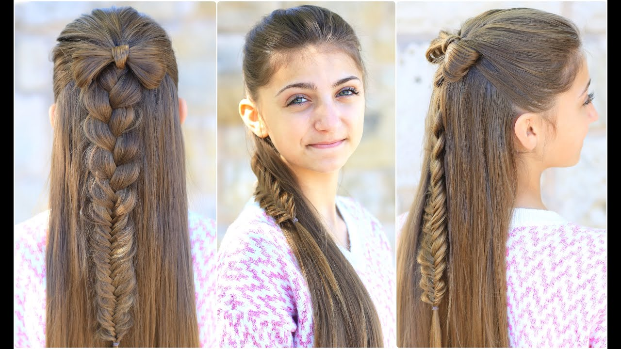Half-Up Bow Combo | Cute Girls Hairstyles - YouTube