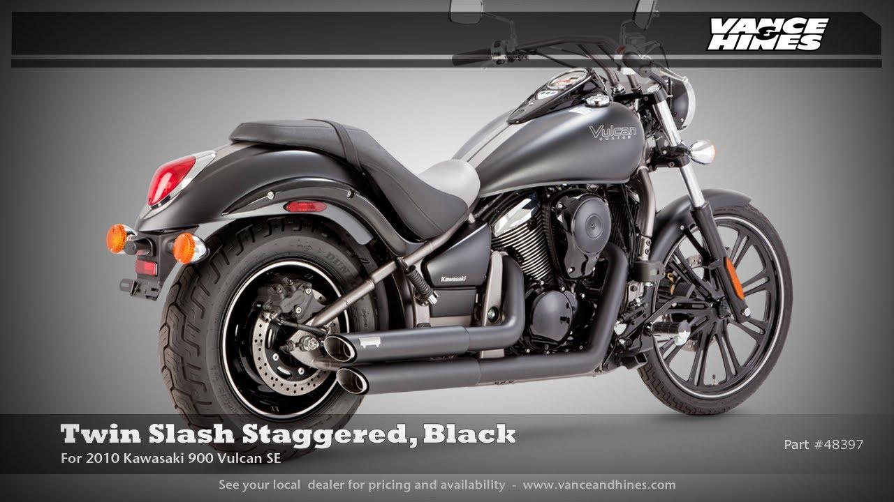 Twin Slash Staggered Black For Kawasaki 900 Vulcan