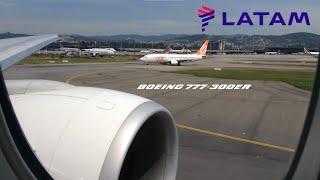 tam airlines boeing 777 300er take off at so paulo gru sbgr