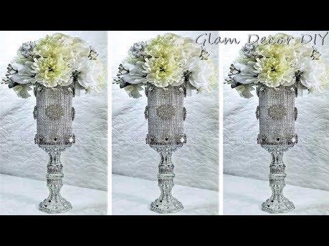 Dollar Tree DIY Tall Glam Vase Wedding Centerpiece
