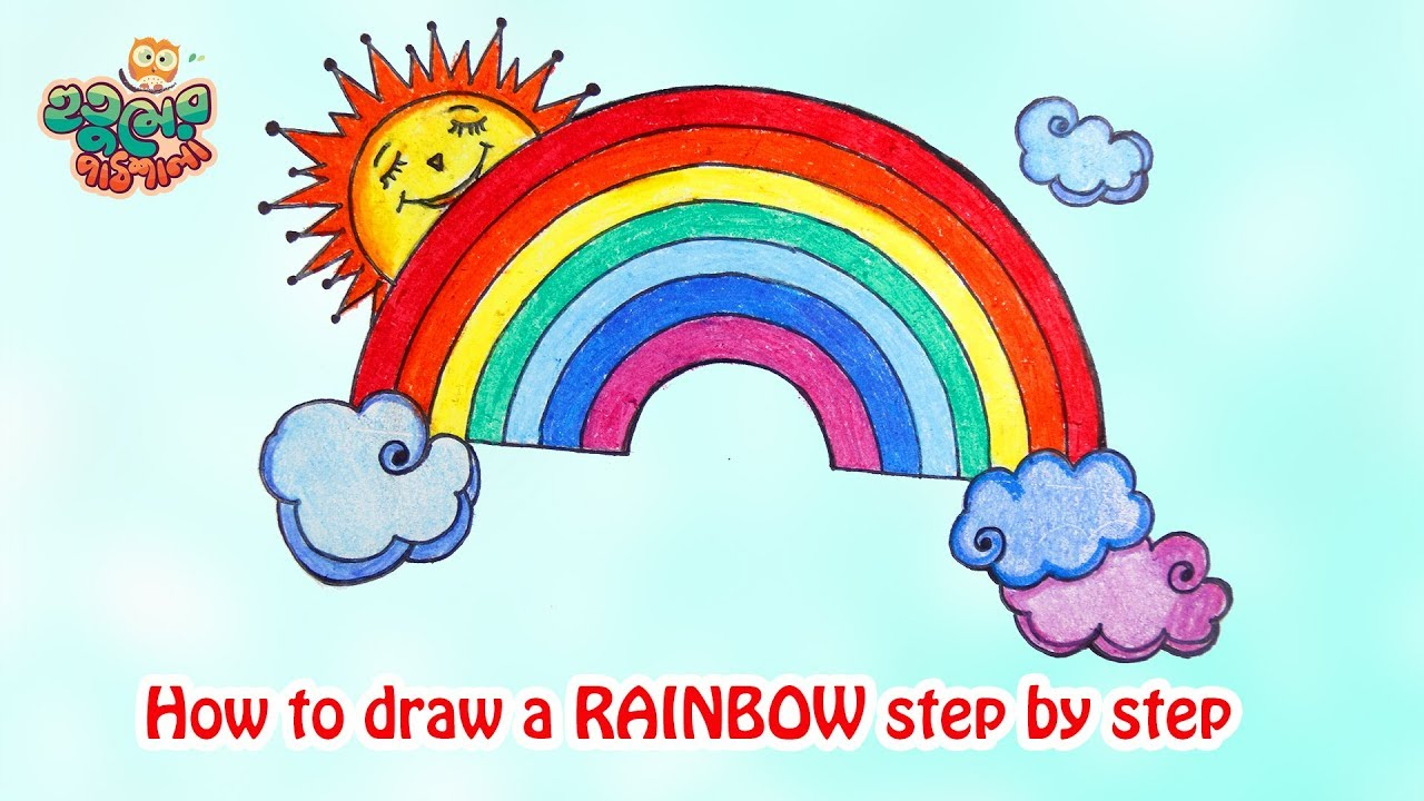 Rainbow Drawing Cute Rainbow Drawing Easy تعلم كيف ترسم منظر طبيعي مع قوس قزح Youtube