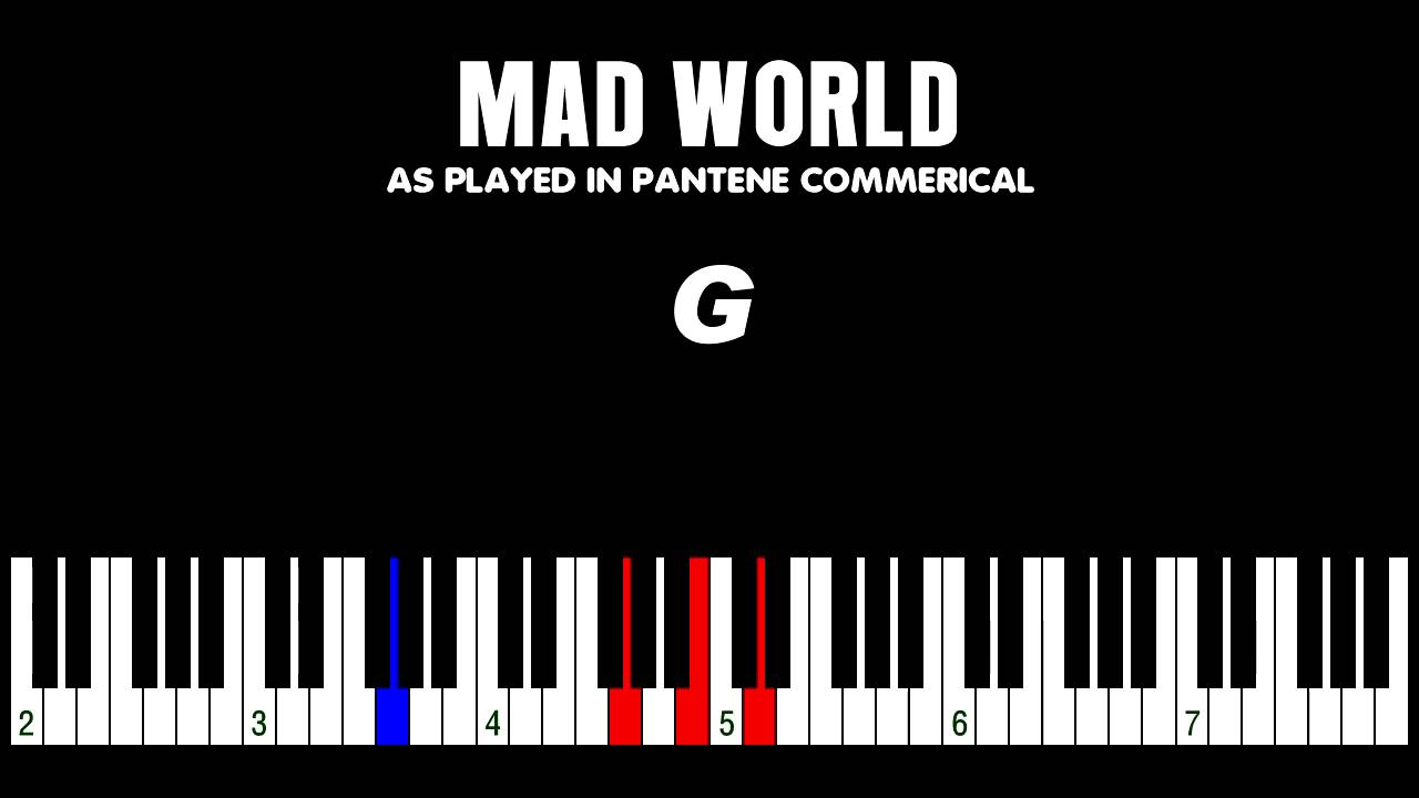 How to play u0026quot;Mad Worldu0026quot; from Pantene Commercial piano keyboard - YouTube
