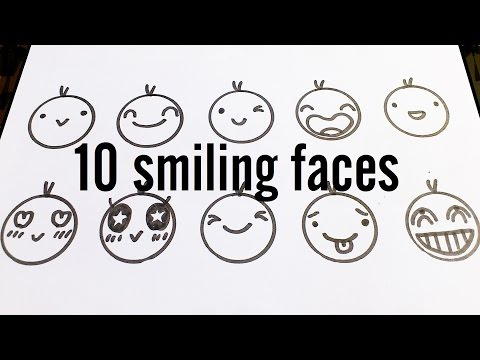 10 Cute Smiling Faces / Kawaii Expressions to Doodle for kids