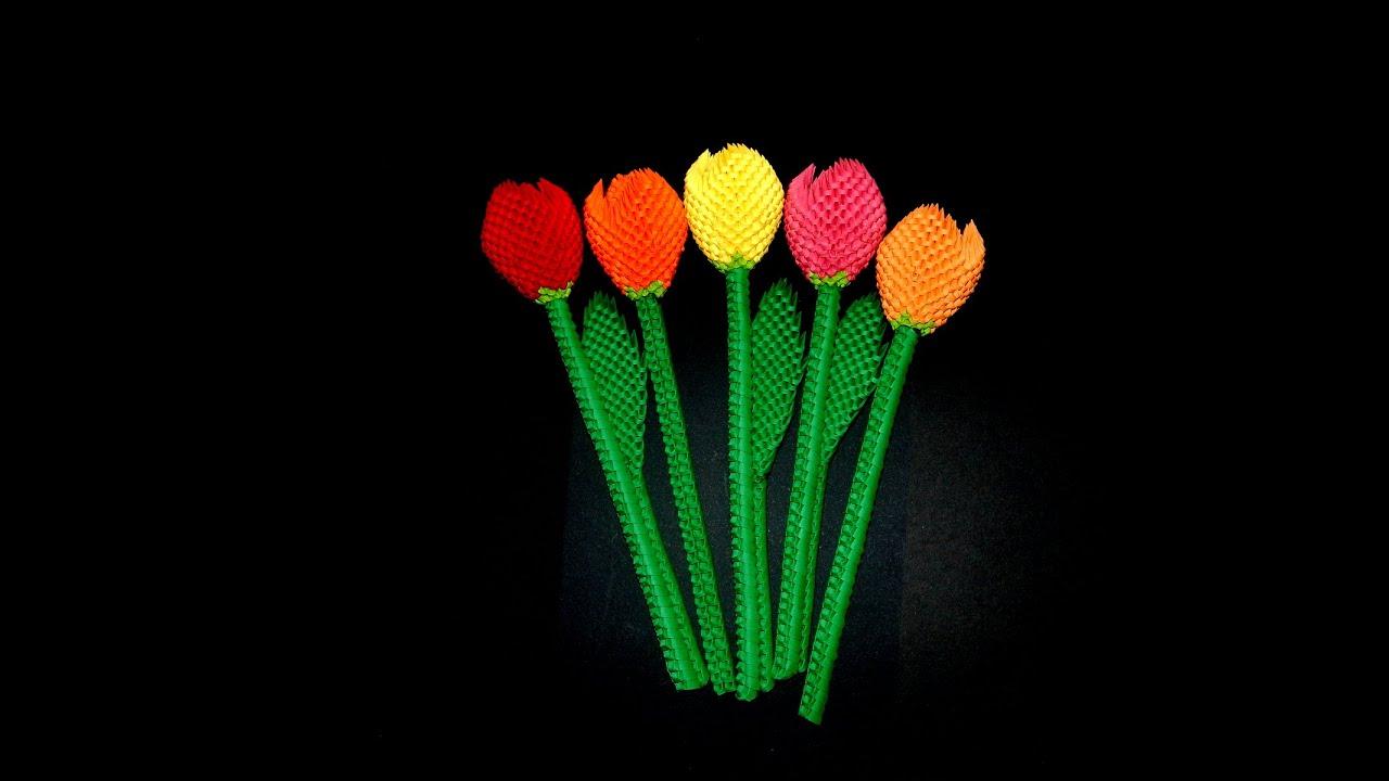 3d origami flower tutorial 3d origami tulip 1 youtube dhlflorist Images
