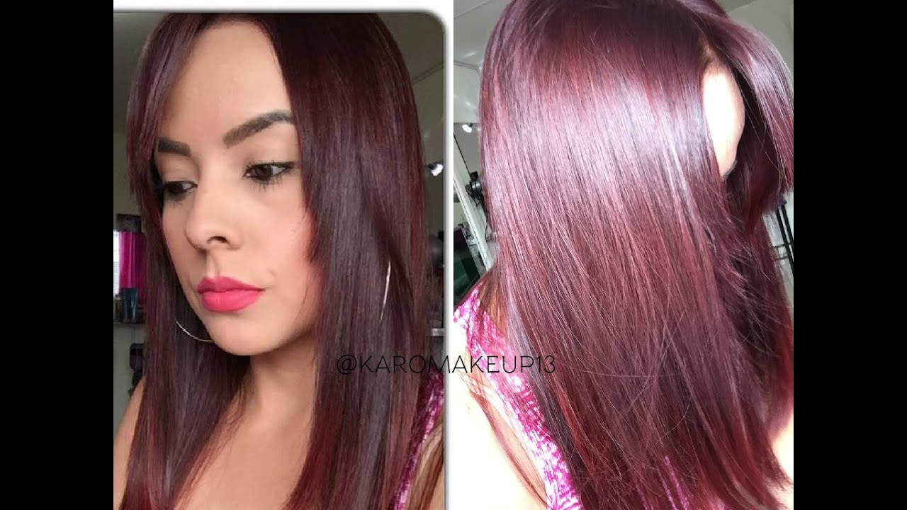 Ba o de color rojo en pelo oscuro for Color marmoleado para cabello