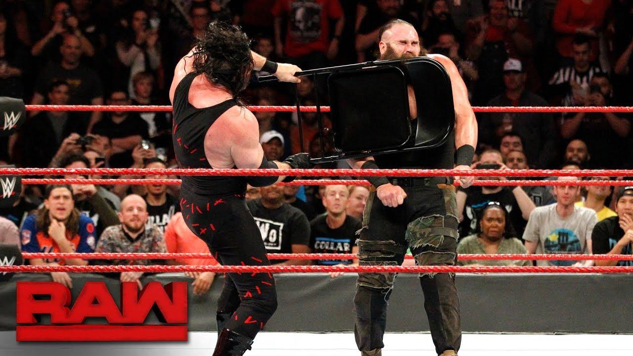 Steel Chair In Wwe Stool Ghana Kane Brutalizes Braun Strowman With A Raw Nov 20 2017