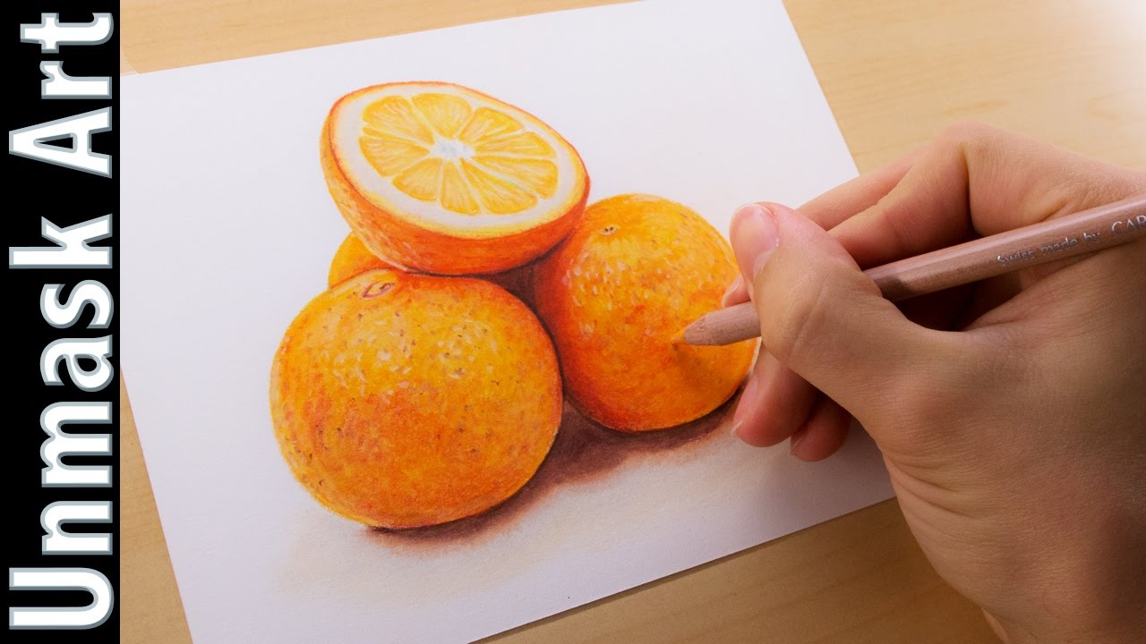 oranges still life colored pencil drawing time lapse