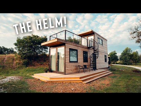 Amazing 2 Story Shipping Container Home. The Helm Airbnb Tiny house Tour!