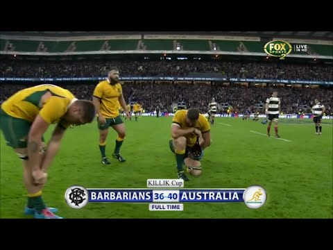 Tiring last play of Barbarians vs Australia 2014