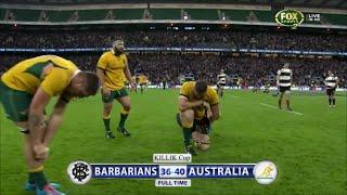 Tiring last play of Barbarians vs Australia 2014