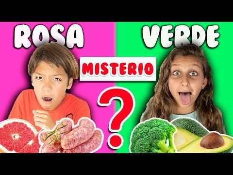 24 HORAS COMIENDO COLORES MISTERIO - Mimi Land reto comida rosa, verde, naranja