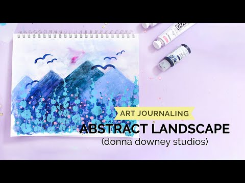 Abstract Landscape Art Journal Page using Donna Downey Stencils