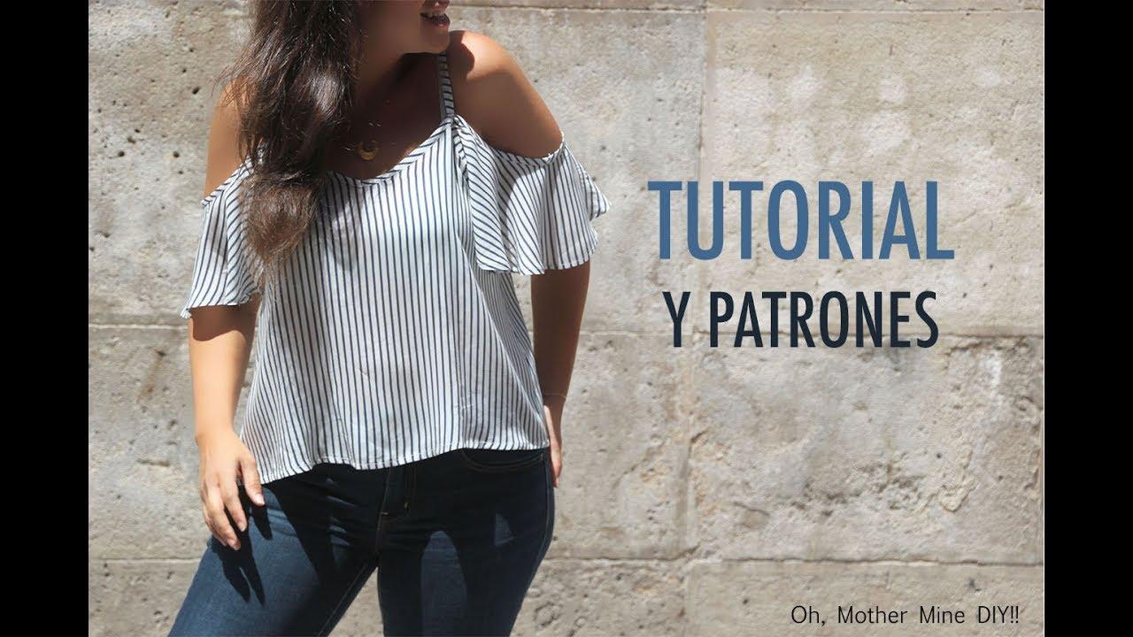 DIY Costura de blusa sin hombros mujer (patrones gratis) - YouTube