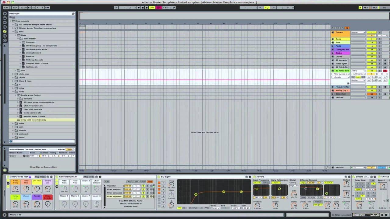 Ableton Master Template - Filter sweep rack | Ableton Tutorial ...