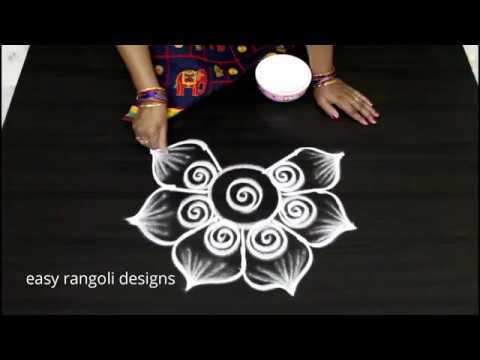 How to draw a cute rangoli kolam       simple  flower designs    beautiful  muggulu
