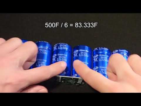 My 6 series 2.7V 500F supercapacitors w protection board for 16.2V 83.333F unit