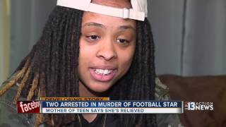 Mother of slain football player seeks to forgive 2 arrested in his death