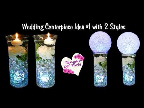Lighted Vase Centerpiece with Flower - Wedding Centerpiece Idea #1