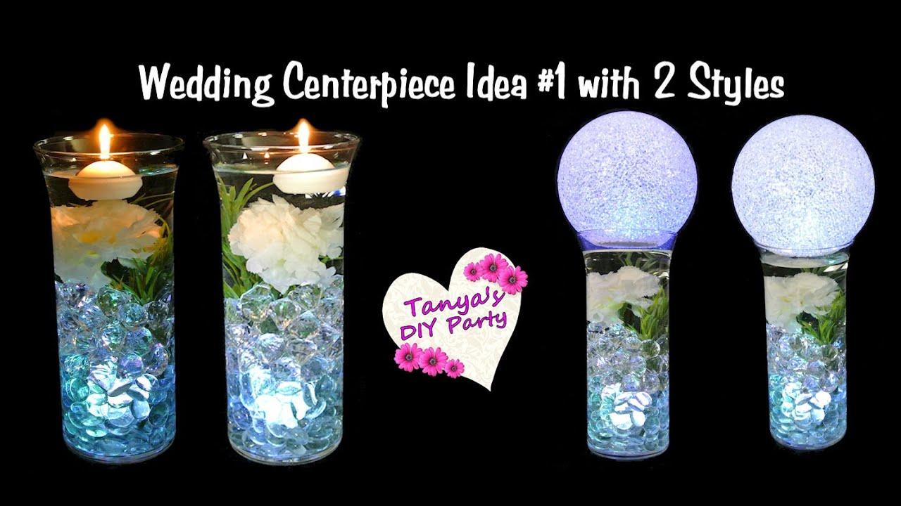 Lighted Vase Centerpiece With Flower Wedding Centerpiece